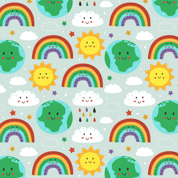Happy World Digital Custom Print Fabric