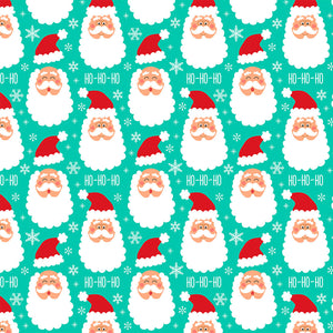 Santa Clause Mint Digital Custom Print Fabric