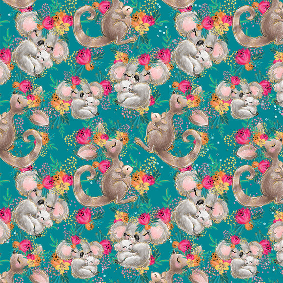Koalas and Kangaroos Green Digital Custom Print Fabric