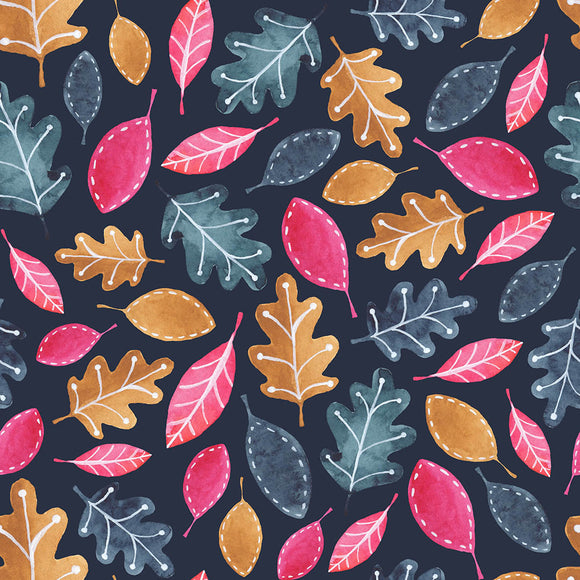 Autumn Leaves Navy Digital Custom Print Fabric
