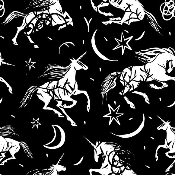 Midnight Unicorn Digital Custom Print Fabric
