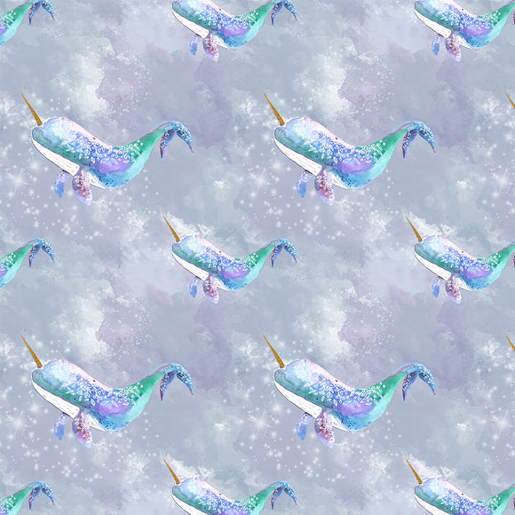 Narwhals Grey Digital Custom Print Fabric
