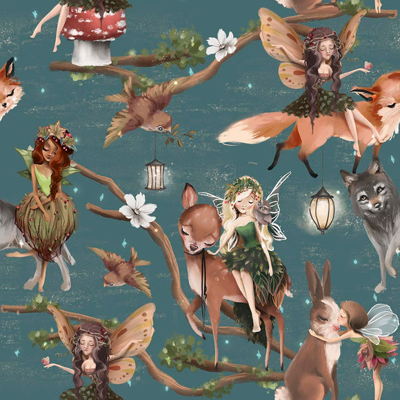 Autumn Fairies Digital Custom Print Fabric
