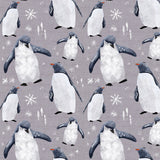 Penguins Grey Digital Custom Print Fabric