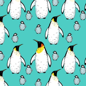 Penguins Mint Digital Custom Print Fabric
