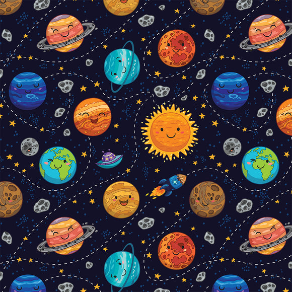 Happy Planets Digital Custom Print Fabric