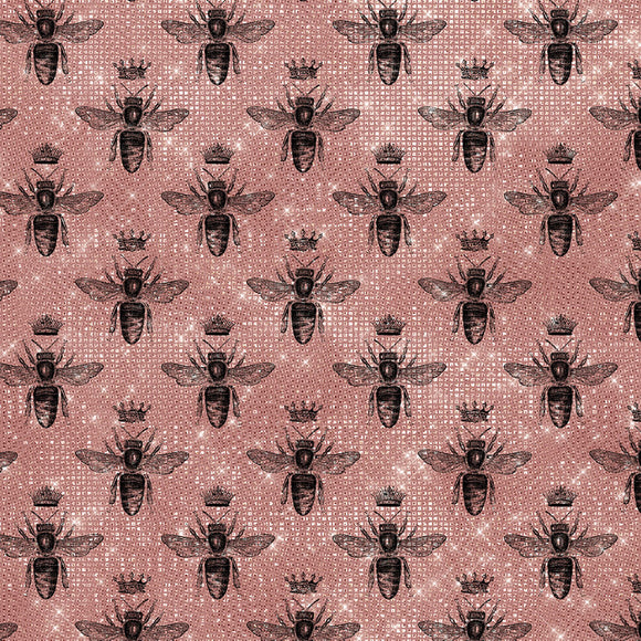Bees Rose Digital Custom Print Fabric