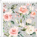Roses Grey Digital Custom Print Fabric