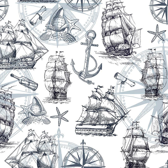 Sailing Ships Digital Custom Print Fabric
