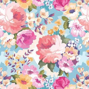 Spring Bloom Blue Digital Custom Print Fabric