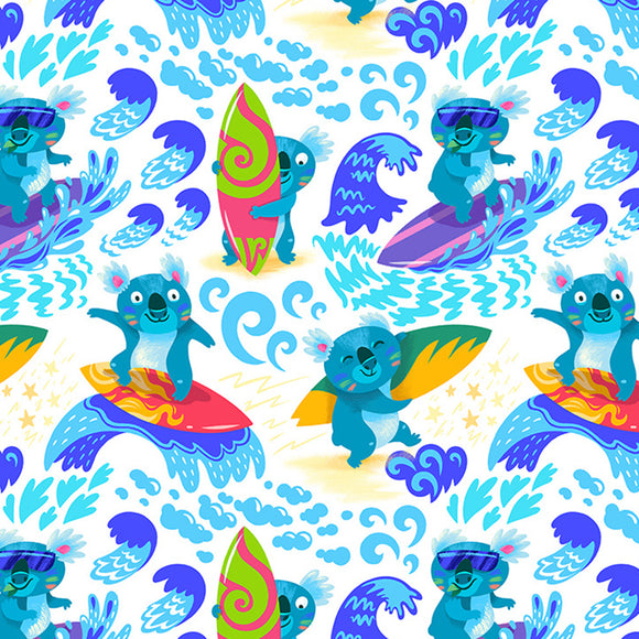 Surfing Koalas White Digital Custom Print Fabric