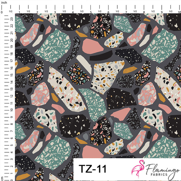 Terrazzo Dark Digital Custom Print Fabric