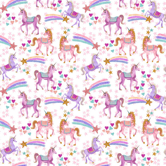 Unicorn Magic - White Digital Custom Print Fabric