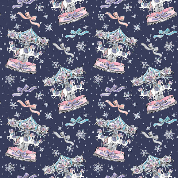 Winter Carousel Digital Custom Print Fabric