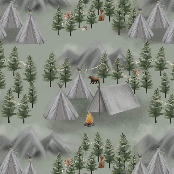 Woodland Camping Digital Custom Print Fabric