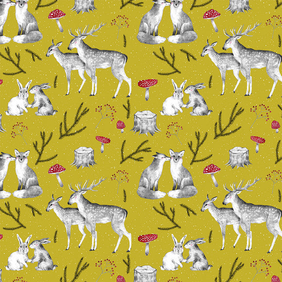 Woodland Love Ochre Digital Custom Print Fabric