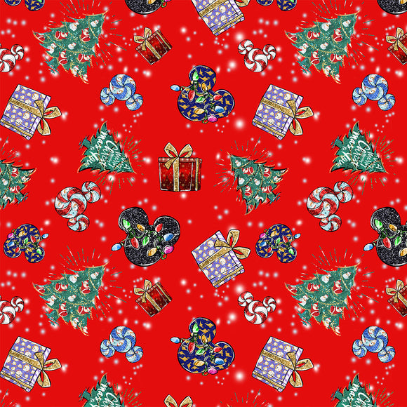 Christmas Red Digital Custom Print Fabric