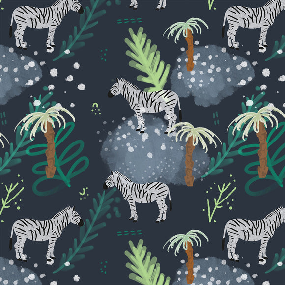 Zebras Grey Digital Custom Print Fabric