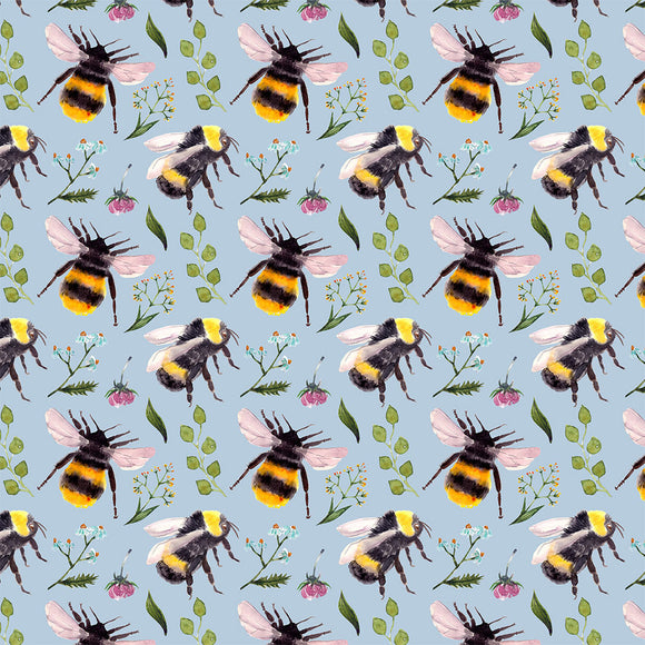 Bees Blue Digital Custom Print Fabric