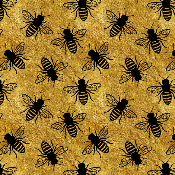 Bees Gold Digital Custom Print Fabric