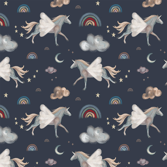 Dreamy Unicorns Grey Digital Custom Print Fabric