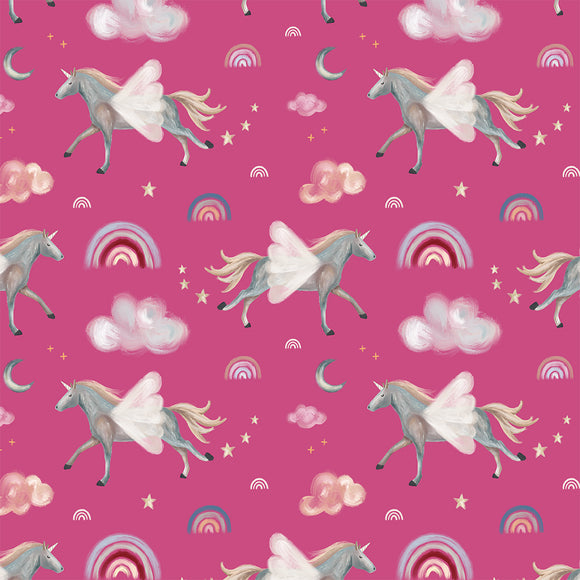 Dreamy Unicorns Pink Digital Custom Print Fabric