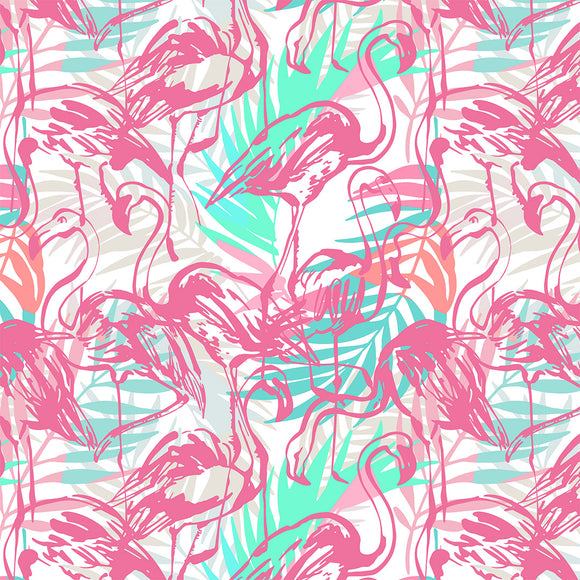 Flamingos White Digital Custom Print Fabric