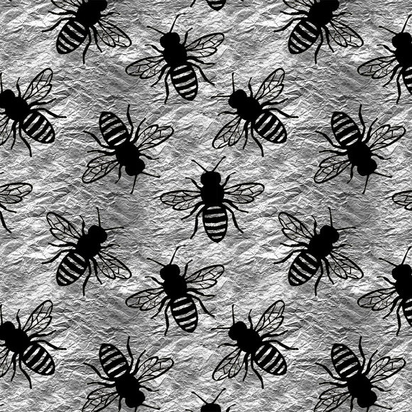 Bees Silver Digital Custom Print Fabric