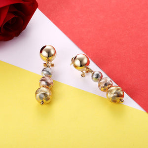 Tri Color Ball Drop Earring