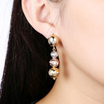 Load image into Gallery viewer, Tri Color Ball Drop Earring