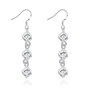 Silver cube drop earrings