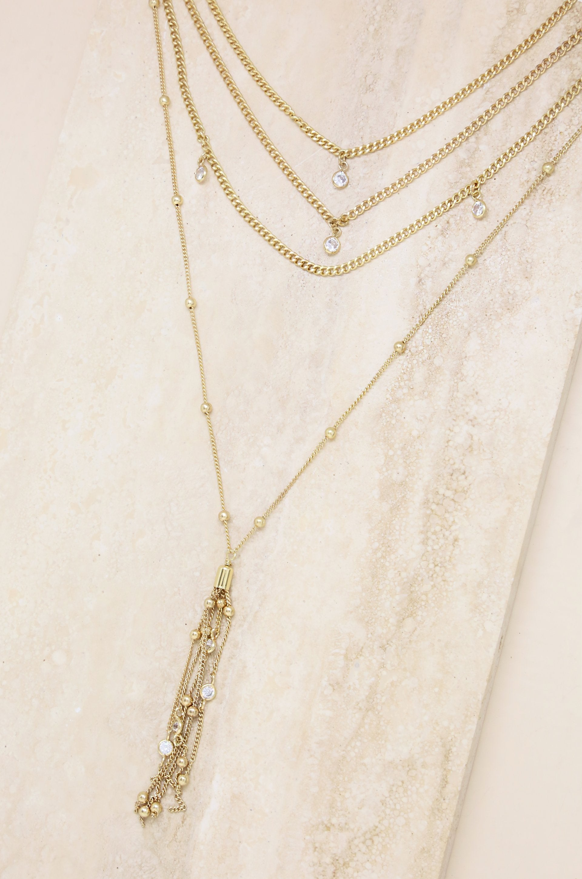 Layered Chain Drop  Necklace