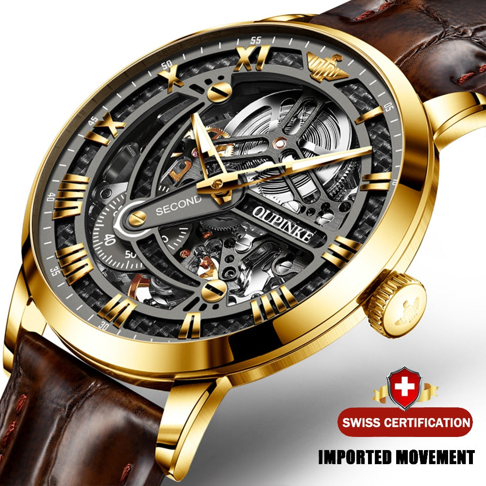 Luxury Leather Men Automatic Skeleton Mechanical Watch