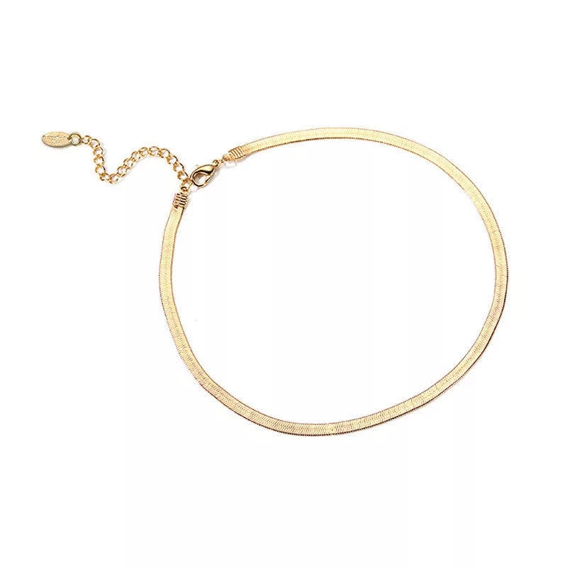 Flat Snake Chain Choker Necklace Gold plated for Women