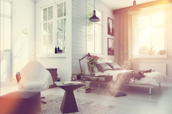 Hygge room with light streaming through window