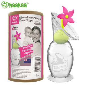Haakaa - Silicone Breast Pump & Limited Edition Pink Flower Stopper