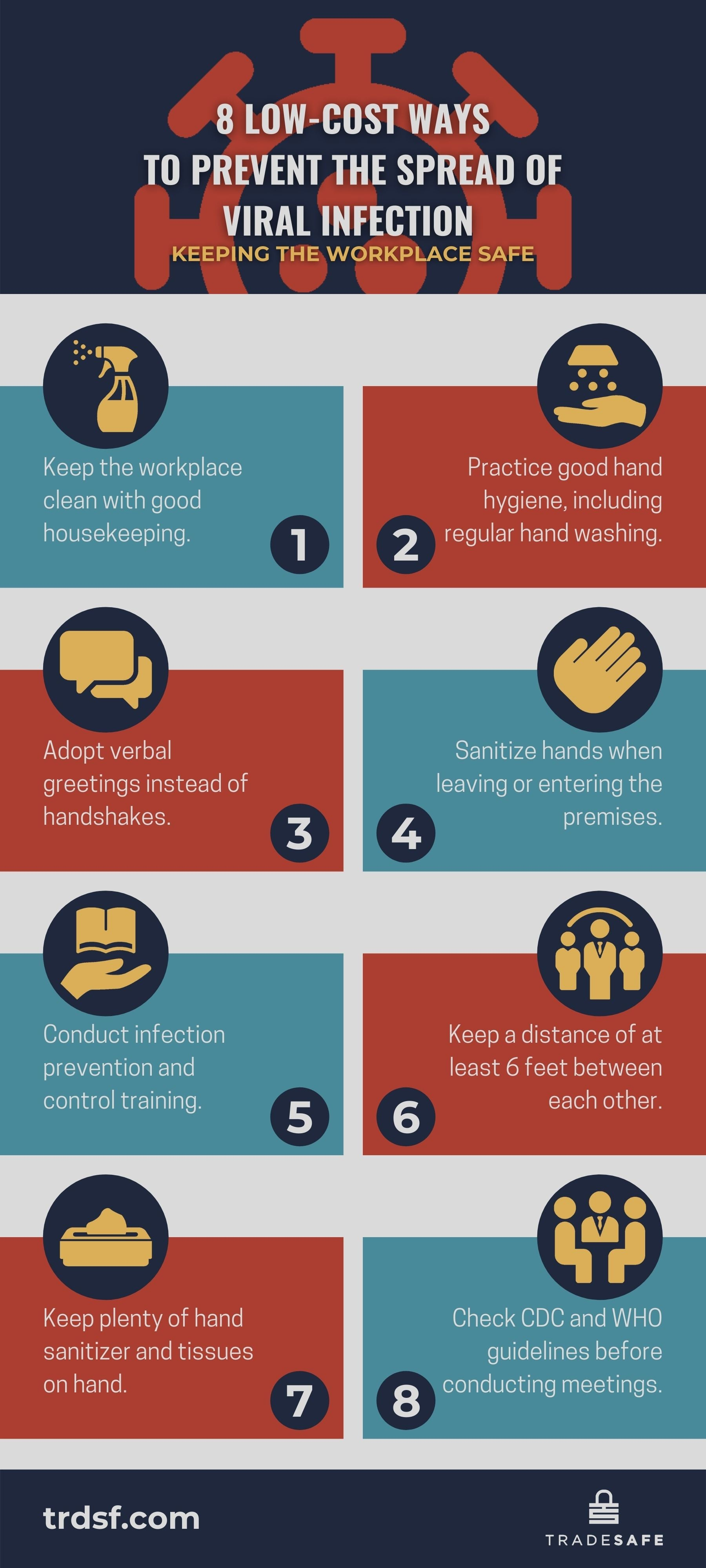 infographic, virus infection prevention, workplace