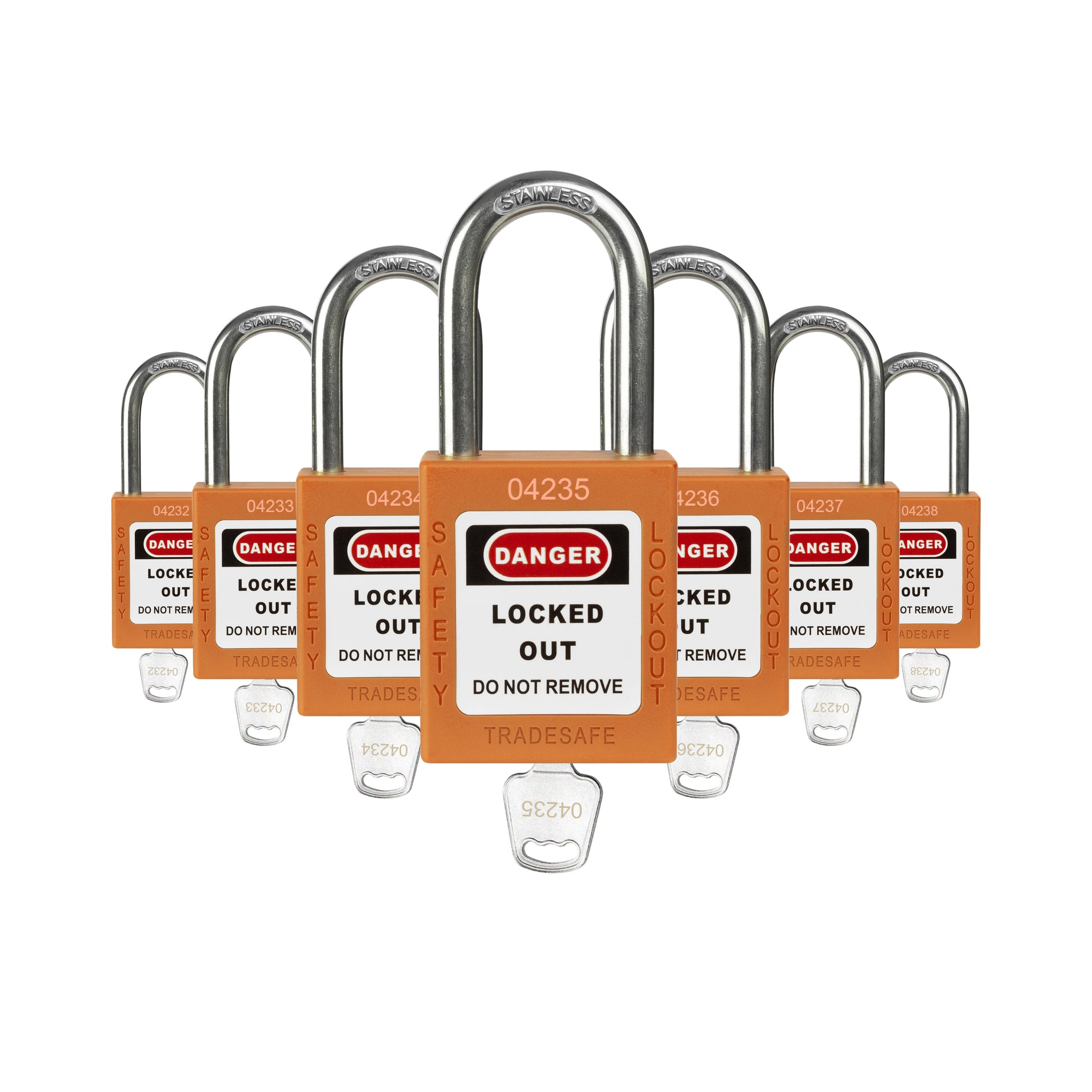 7–Keyed Different – 1Key Per Lock – Orange – Lockout Tagout Safety Padlock Set