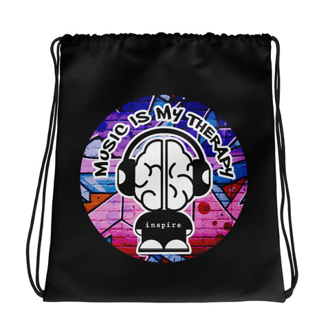 Music is My Therapy inspire® Brand Drawstring bag