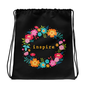 inspire Floral Wreath Brand Drawstring bag