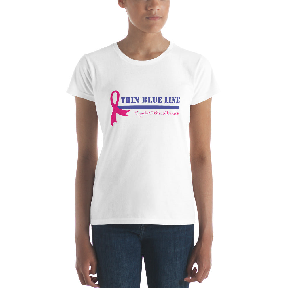 inspire® Thin Blue Line Against Breast Cancer Women's short sleeve t-shirt