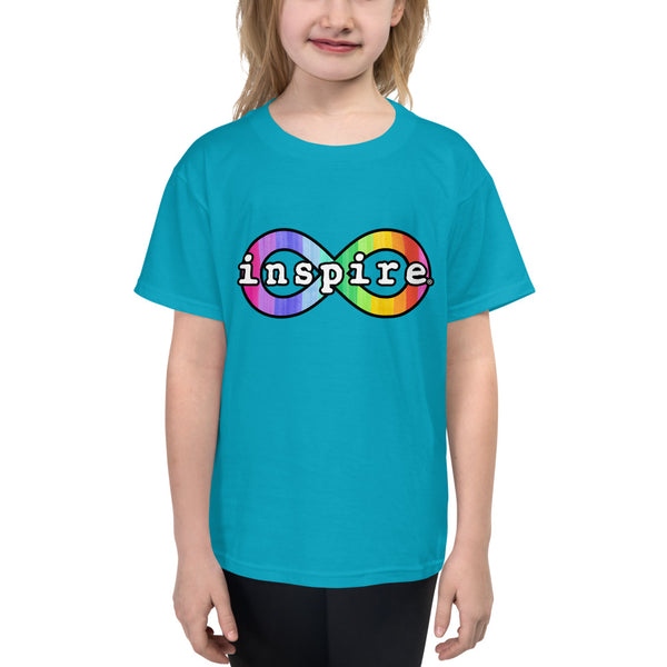 inspire Neurodiversity Awareness Rainbow Infinity Youth Short Sleeve T-Shirt