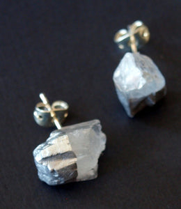 Silver & Raw Quartz Chunk Earrings Geo Earrings