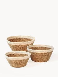 plant baskets cream and natural set of 3