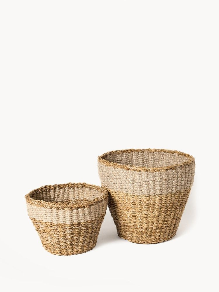woven seagrass basket set tall no handles neutral