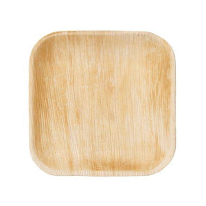 "Palm Leaf Square Plates 7"" Inch"