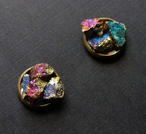 Peacock Ore Cluster Stud Earrings, Raw Peacock Ore Earrings