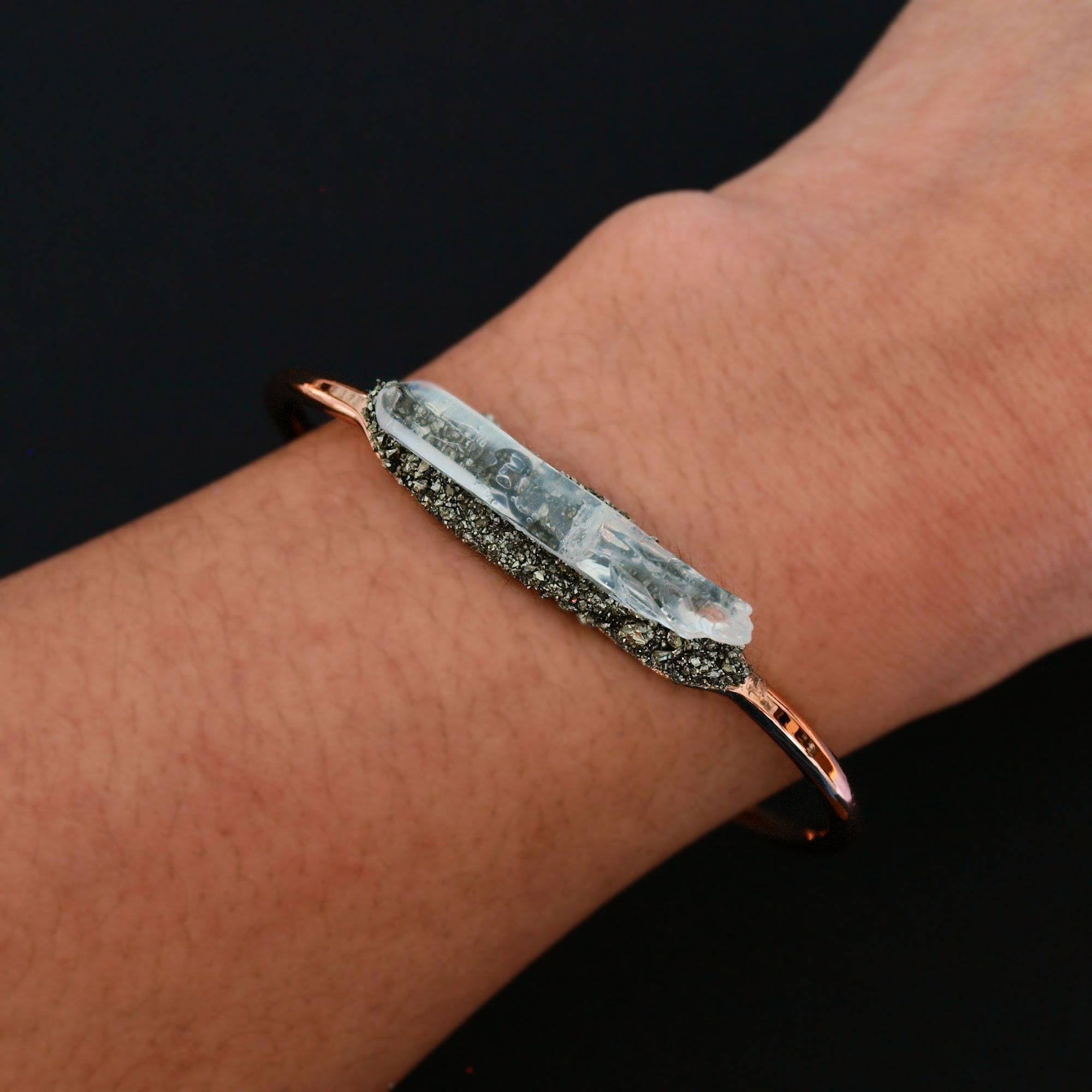 Rose Gold Pyrite and Quartz Bracelet