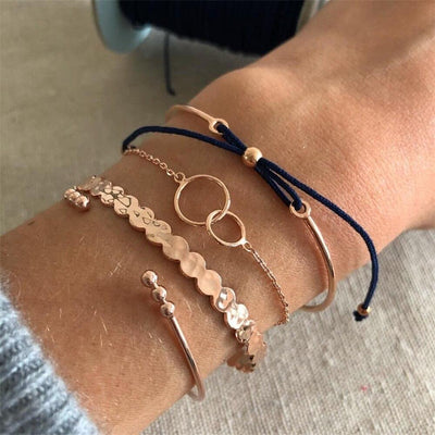 Set of 4 Rose Gold Chic Bracelets-Avenue