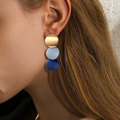 Avenue Tricolor Round Earrings-Avenue